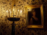 Electric Candelabra Illuminating a Portrait in a Museum Fotografisk tryk af Paul Chesley