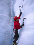 Ice Climbing on Root Glacier Photographic Print by Michael Melford