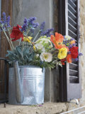Water Pitcher Holding Flowers Standing in a Windowsill Photographic Print by  Keenpress