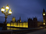 Night View of Big Ben and the Houses of Parliament, in London Fotografisk tryk af Paul Chesley