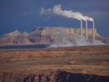 Steam Billows from Chimneys of the Navajo Power Plant Photographic Print by Michael Melford