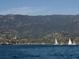 Sailboats on the Pacific Ocean in Front of Santa Barbara Photographic Print by James Forte