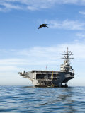 Pelican Flies Towards the U.S. Ronald Reagan Aircraft Carrier Photographic Print by James Forte