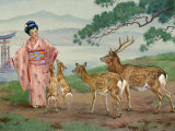 Sika Deer Beg for Food from a Japanese Woman Photographic Print by Walter Weber