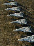 Row of Fighter Jets in Storage at Davis Monthan Air Force Base Fotografisk tryk af Paul Chesley