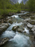 Cascading Stream from Briksdalbreen, the Briksdal Glacier Photographic Print by Michael Melford
