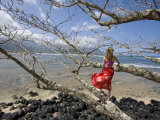 Girl at the Beach Leaning on a Tree Photographic Print by John Burcham