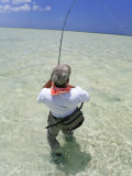 Bringing in Another Bonefish on the Flats of Acklins Island, Bahamas Photographic Print by Drew Rush