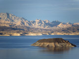 Lake Mead at Dusk with Rugged Landscape Photographic Print by Scott Warren