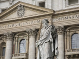 Statue of Saint Paul and the Facade of Saint Peter's Basilica Photographic Print by Scott Warren