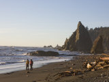 Couple Walk Along the Beach in Olympic National Park Photographic Print by Taylor S. Kennedy