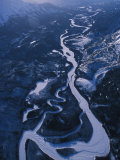 Arial of a Frozen River in a Mountain Valley Photographic Print by Nick Norman