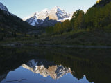 Majestic Maroon Bells are Reflected in Maroon Lake Photographic Print by Charles Kogod
