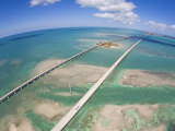 Aerial of Seven Mile Bridge at Extreme Spring Low Tide in the Keys Photographic Print by Mike Theiss