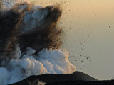 Explosion of Lava, Ash, and Steam Above a Growing Littoral Cone Photographic Print by Steve & Donna O'Meara