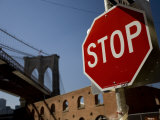 Stop Sign and the Brooklyn Bridge Photographic Print by David Evans
