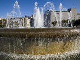 Fountain in the Busy Placa De Catalunya in Downtown Barcelona Photographic Print by Scott Warren