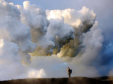 As Lava Flows into the Pacific a Hydrochloric Acid Steam Cloud Forms Photographic Print by Steve & Donna O'Meara