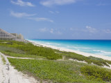 """Looking Down the Beach at """"Hotel Row"""" in Cancun, Mexico Photographic Print by Mike Theiss"""