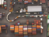 Aerial View of the Hamburg Harbor Container Terminal Photographic Print by Michael Polzia
