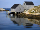 Reflections in Water of Boat Houses in Peggy's Cove Photographic Print by Scott Warren