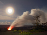 Steam Plume at New Caldera Vent under a Full Moon with a Lunar Corona Photographic Print by Steve & Donna O'Meara