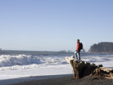 Man Admires the Scenery in Olympic National Park Photographic Print by Taylor S. Kennedy