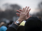 Viewer Claps During the Inaugural Concert at the Lincoln Memorial Photographic Print by Scott Warren
