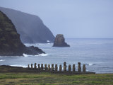 Moai Along the Coast of Easter Island at Ahu Tongariki Photographic Print by Stephen Alvarez