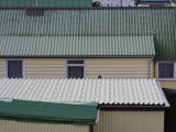 White and Green Tin Roofs on Houses in Stanley, Falkland Islands Fotografie-Druck von Kent Kobersteen