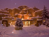 Snow Topped Inn Is Decorated for the Winter Holidays in Santa Fe Photographic Print by Ralph Lee Hopkins