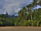 Volcanic Mountains and Palm Trees Along the Beach on Principe Island Photographic Print by Michael Polzia