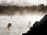 People Relaxing in the Blue Lagoon Geothermal Hot Springs Photographic Print by Mattias Klum