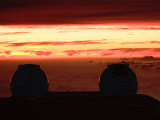 Twin Keck Telescopes Atop the Summit of Mauna Kea, at Sunset Photographic Print by Steve & Donna O'Meara