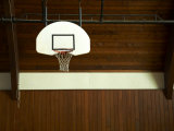Basketball Hoop in an Old Gym in Botson Photographic Print by Ira Block