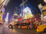 Double Decker Bus on Broadway, in Times Square, at Night Photographic Print by Mike Theiss