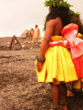 Hula Dancers Making Offerings to Volcano Goddess, Pele Photographic Print by Steve & Donna O'Meara