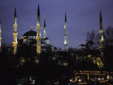 Mosque Lit Up at Dusk in Istanbul, Turkey Photographic Print by Gianluca Colla