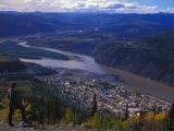 Hiker Overlooks the Mountain Town of Dawson City Photographic Print by Nick Norman