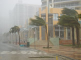Hurricane Winds in Downtown Miami During Category 3 Hurricane Wilma Photographic Print by Mike Theiss