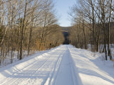 Snow Covered Back Road in the White Mountains of New Hampshire Photographic Print by Mike Theiss