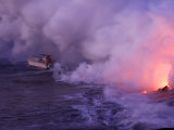 Boat Near a Hydrochloric Steam Cloud Created as Lava Enters the Sea Photographic Print by Steve & Donna O'Meara