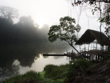 Morning Fog over a Peruvian Rain Forest River Fotografisk tryk af Mattias Klum