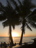 Sun Sets in Pacific Ocean at Waikiki Beach, Honolulu, Hawaii Photographic Print by Charles Kogod