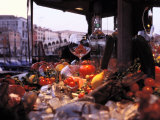 Close-up of Fruits and Wine a Glass at an Outdoor Market in Venice Photographic Print by Gianluca Colla