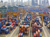 Containers Stacked Together at the Port of Singapore Authority Photographic Print by  xPacifica