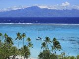 Sailboat Anchored in the Channel Between Tahiti and Moorea Photographic Print by Stephen Alvarez
