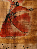 Beautiful Painting of a Whirling Dervish on Cloth with Arabic Script Photographie par Gianluca Colla