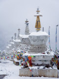 Stupas and Prayer Flags in Fresh Snow at Feilaisi Photographic Print by Scott Warren