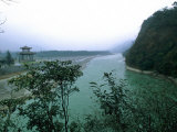 Minjiang River Flows Past Temple Near Chengdu, China Photographic Print by O. Louis Mazzatenta
